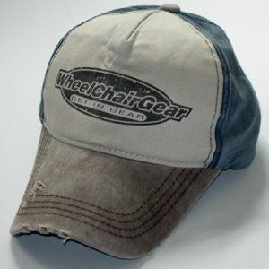 Denim and canvas distressed cap