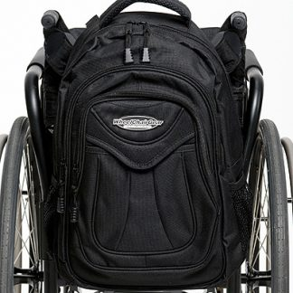 Slice Wheelchair Backpack attached to the back of a wheelchair