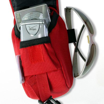 Wheelchair Mini Bag Red and sunglasses attached