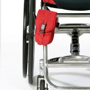 Wheelchair Mini Bag Red attached to a wheelchair