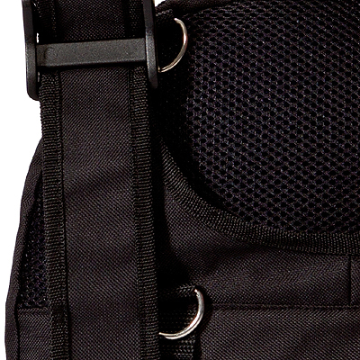 black Wheelchair backpack bag model Pack Rat view of its strap
