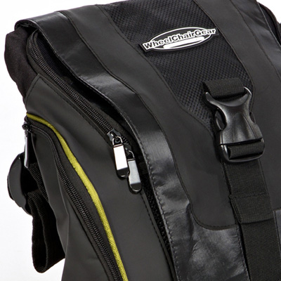 close up view of zips and straps of Urban Messenger Bag by Wheelchair Gear