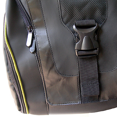 close up view of zips and straps of a Brand New Urban Messenger Bag by Wheelchair Gear