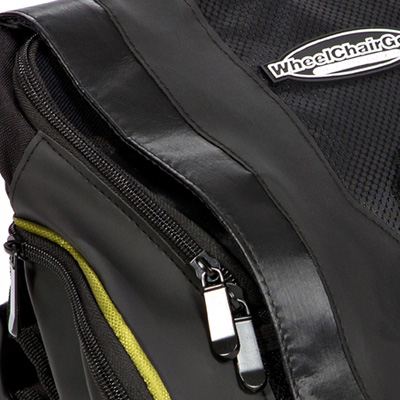 close up view of zips of Urban Messenger Bag by Wheelchair Gear