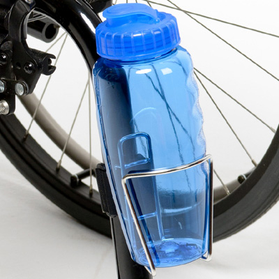 close up view of Wheelchair Water Bottle and Holder attached to the wheelchair