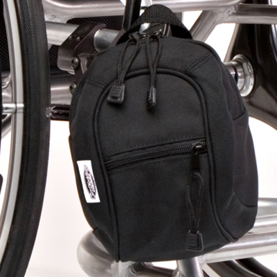 close up view of Wheelchair bag model The Slice Jr Mini Pack Black