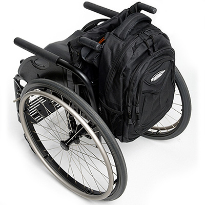 full view of Slice Wheelchair Backpack attached to the back of a wheelchair