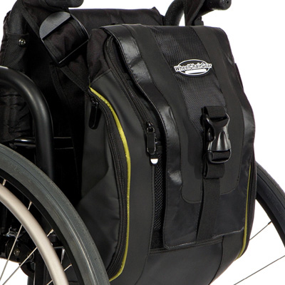 side view of The Urban Messenger Bag attached to the back of a wheelchair