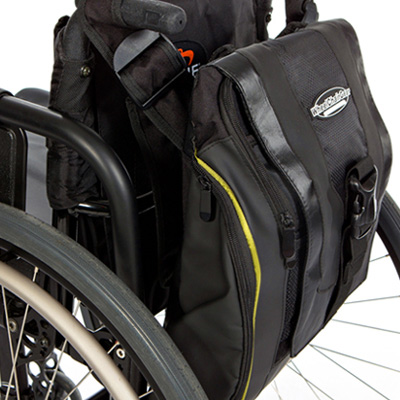 side view of Urban Messenger Bag attached to the back of a wheelchair