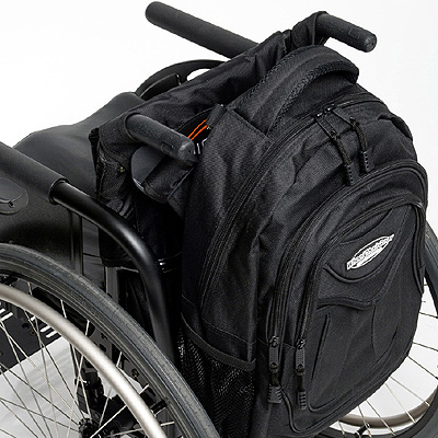 top view of Slice Wheelchair Backpack attached to the back of a wheelchair